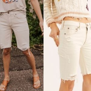 FREE PEOPLE White Denim Bermuda Shorts Size 26 NWT